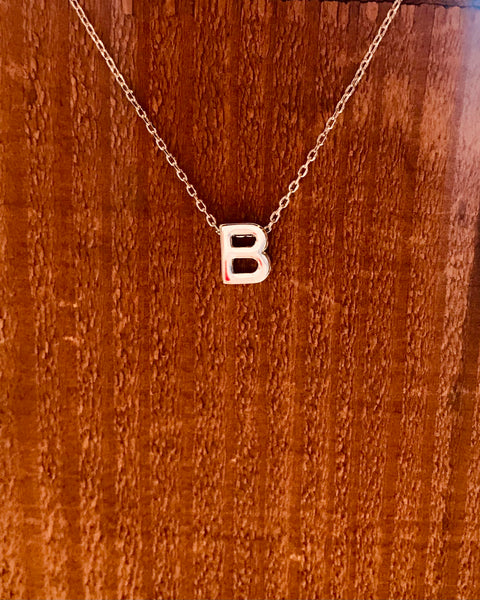 Silver Initial Necklace-Anchored Bliss -B-Shop Anchored Bliss Women's Boutique Clothing Store