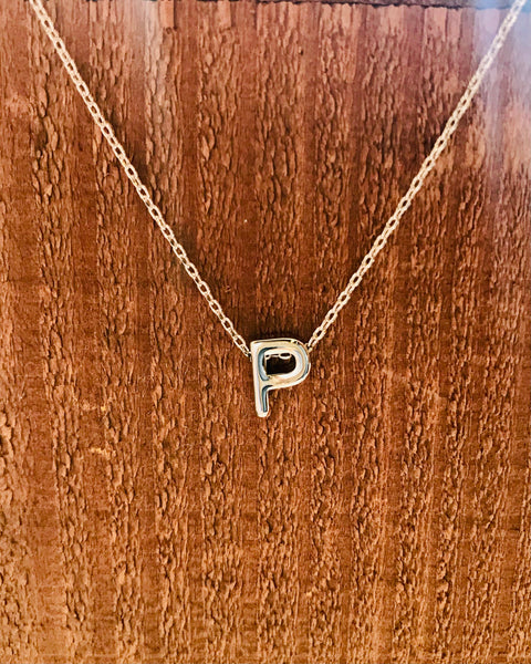 Silver Initial Necklace-Anchored Bliss -P-Shop Anchored Bliss Women's Boutique Clothing Store