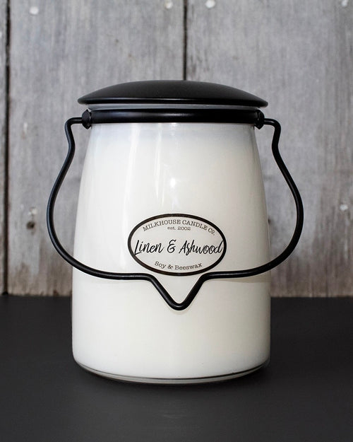 Linen & Ashwood Butter Jar Candle • 16 oz-Milkhouse Candle Company-Shop Anchored Bliss Women's Boutique Clothing Store