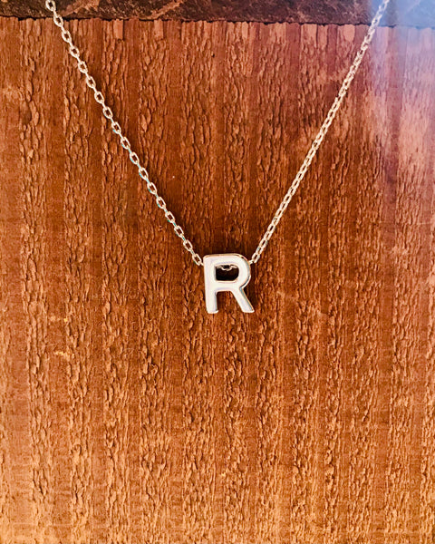Silver Initial Necklace-Anchored Bliss -R-Shop Anchored Bliss Women's Boutique Clothing Store