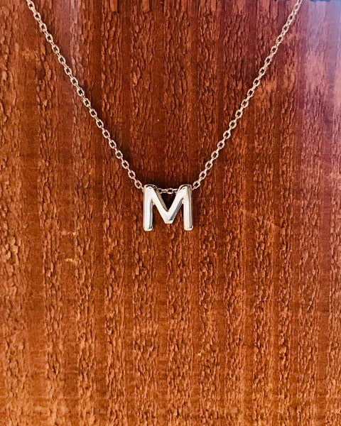 Silver Initial Necklace-Anchored Bliss -M-Shop Anchored Bliss Women's Boutique Clothing Store