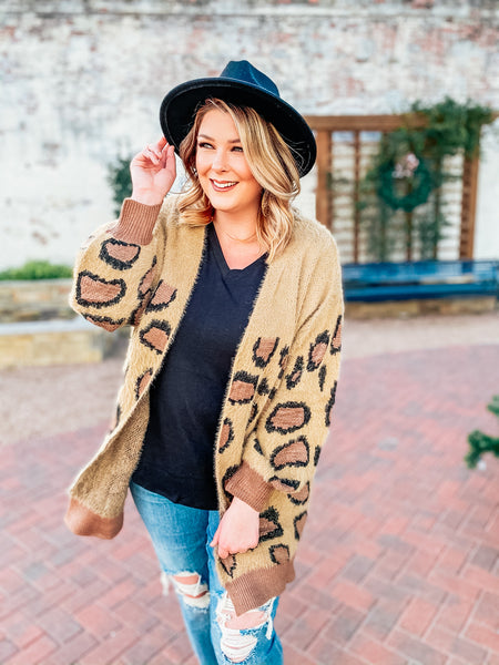 Fierce Fashion Leopard Cardigan-Umgee-Shop Anchored Bliss Women's Boutique Clothing Store