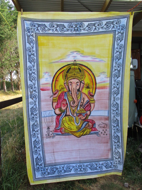 Ganesha Tapestry-Hand Painted