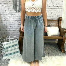 Washed Terry Knit Wide Leg Pants