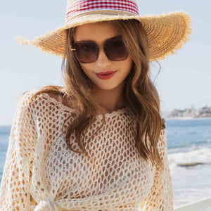 Gingham Ribbon Straw Hat