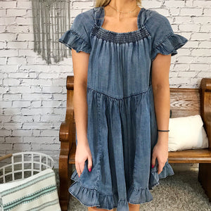 Clara Washed Denim Ruffle Dress