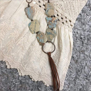 Aqua Terra Slab Necklace w/ Fringe Tassel Necklace Necklace