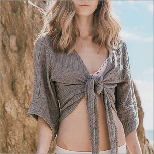 Bali Wrap Top - 2 Colors One Size / Gray Wrap Top Tops