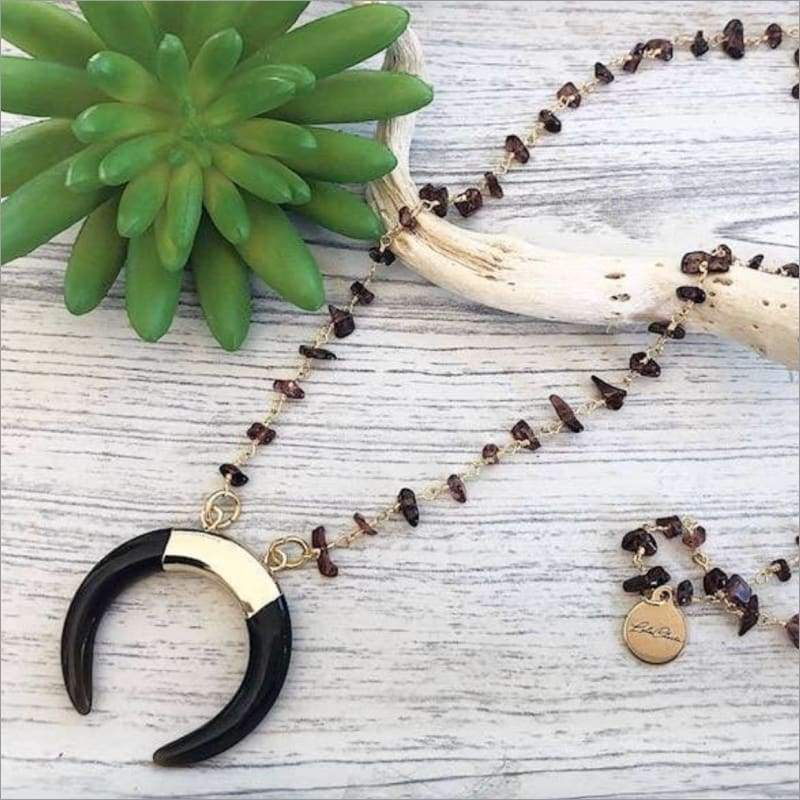 Black Onyx Crescent Horn Pendant Necklace