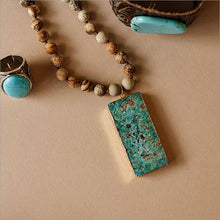 Bohemian Natural Jasper Necklace with Agate Pendant