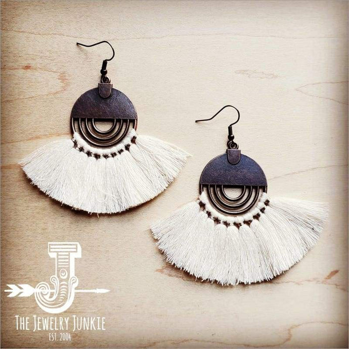 Cream Fan Tassel Earrings