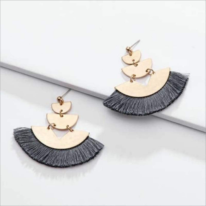 Dark Gray Triple Gold Fan Tassel Earrings