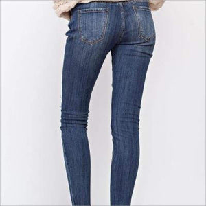 DISTRESSED ANKLE DENIM SKINNY JEANS