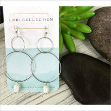 Double Circle Pearl Drop Earrings