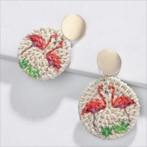 Flamingo Raffia Circle Earrings Earrings Earrings Jewelry