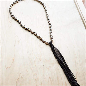 Freshwater Pearl Crochet Necklace with Tassel