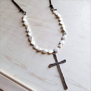 Freshwater Pearl with Copper Cross Pendant Necklace
