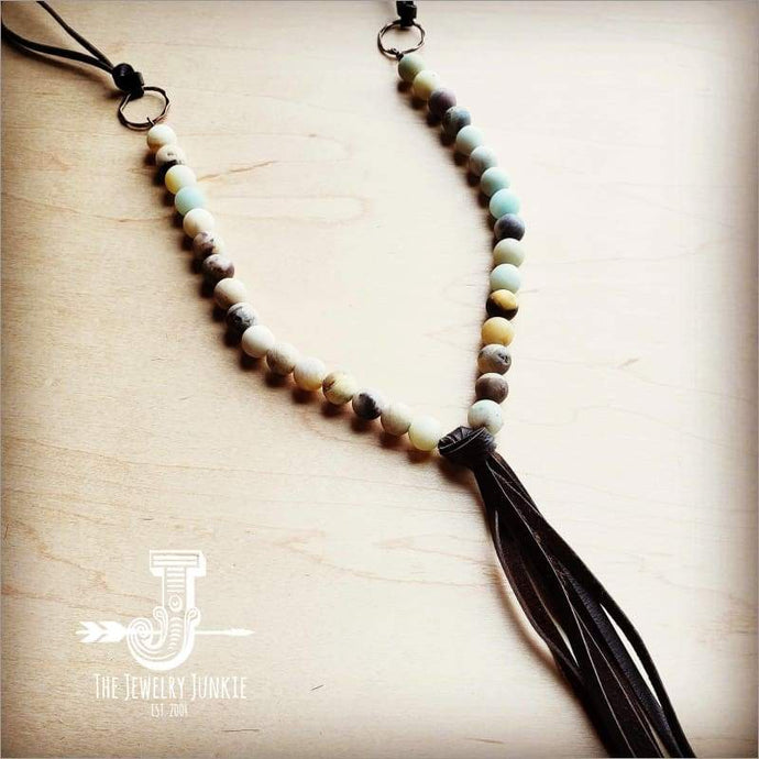 The Jewelry Junkie - Frosted Amazonite Necklace with Long Fringe Tassel 227A Faire