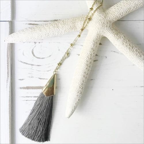Gray Tassel Necklace Gold Accent Necklace Necklace