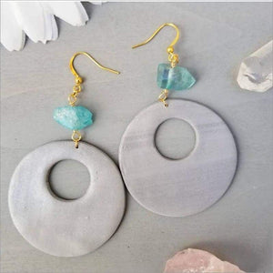 Grey & Blue Quartz Tyler Earrings