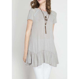 Lace Shoulder Ruffle Hem Tunic Top Crochet Trim Ruffle Short Sleeve Tunic