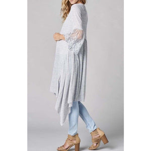 Lace Sleeves Long Cardigan Cardigan Asymmetrical Cardigan Crochet Lace Long Cardigan