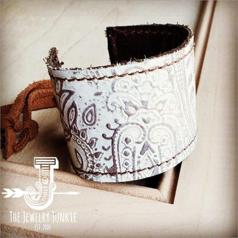 The Jewelry Junkie - Leather Cuff with Adjustable Tie-Oyster Paisley Faire