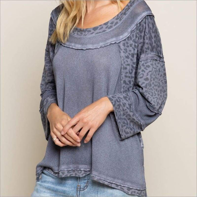 Fearless Perfect Knit Top S / Charcoal Leo Top Tops