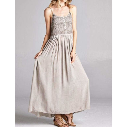 Mineral Washed Maxi Dress Dress Boho Crochet Lace Maxi Dress Mineral Washed