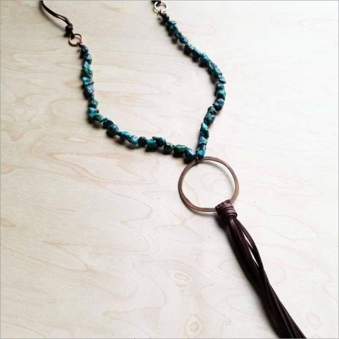Natural Turquoise Necklace with Copper Hoop