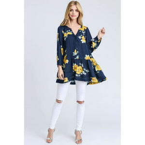 Navy Floral Tiered Ruffle Hem Tunic Top Floral Floral Top Top Tunic