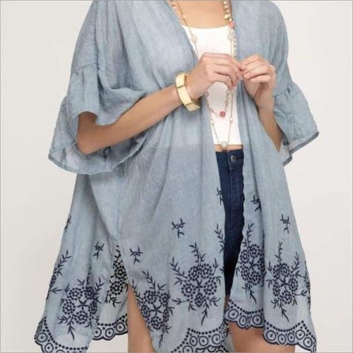 Open Front Cardigan With Embroidery Detail Kimono Kimono Outerwear
