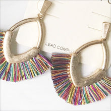 Oval Fan Multi-Colored Earrings Earrings Earrings