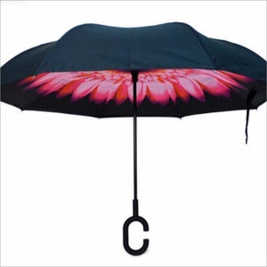 Pink Flower Inverted Umbrella