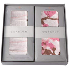 Pink Stripe and Cherry Blossom Swaddle Gift Set