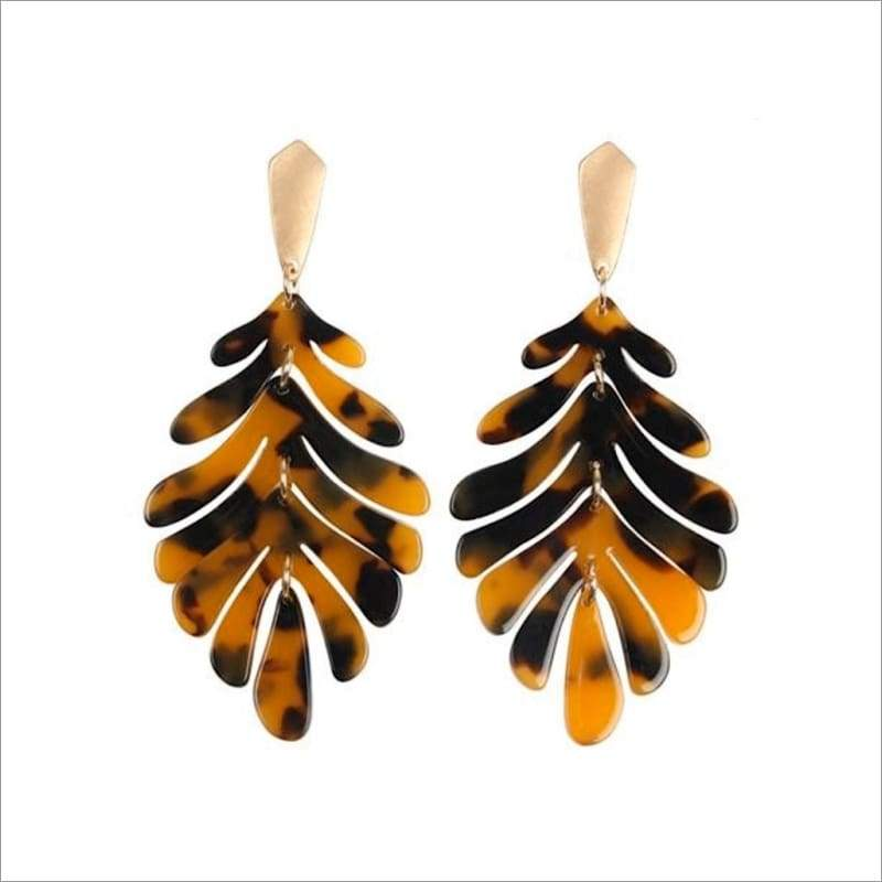 Resin Leaf Drop Earrings
