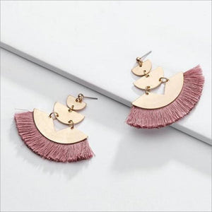 Rose Triple Gold Fan Tassel Earrings