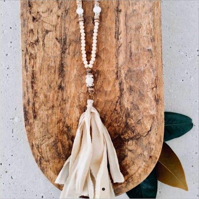Sari Tassel Wood Bead Necklace Necklace Necklace