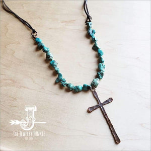 The Jewelry Junkie - Seafoam Green Turquoise Necklace w/ Copper Cross Pendant Faire