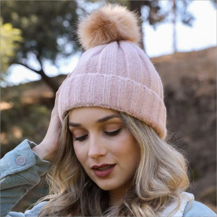 Soft Knit Faux Fur Pom Beanie