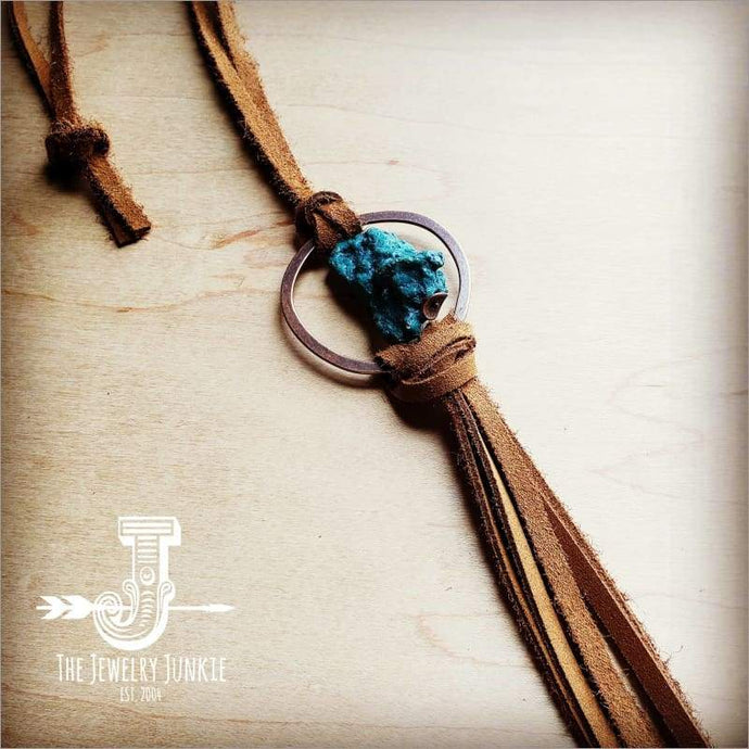 Suede Necklace With Genuine Turquoise Stone and Tassel