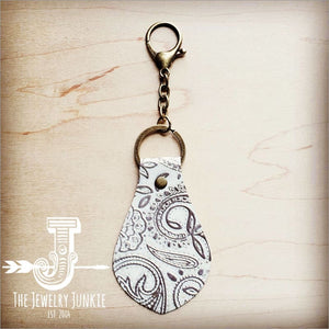 The Jewelry Junkie - Embossed Leather Key Chain - Oyster Paisley