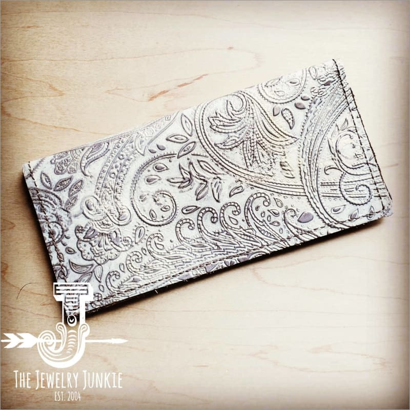 The Jewelry Junkie - Embossed Leather Wallet in Oyster Paisley Faire