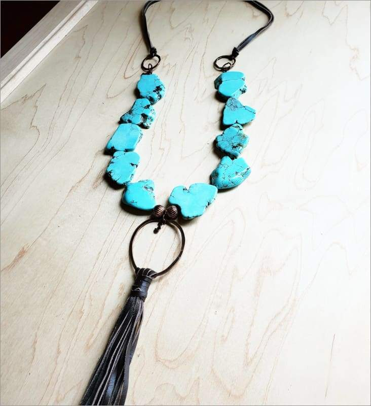 The Jewelry Junkie - Turquoise Slab Necklace with Genuine Long Leather Tassel 226 Faire