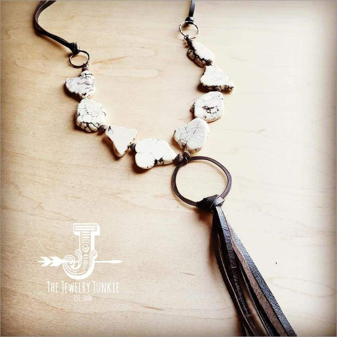 The Jewelry Junkie - White Turquoise Chunky Necklace w/ Long Leather Tassel 225k Faire