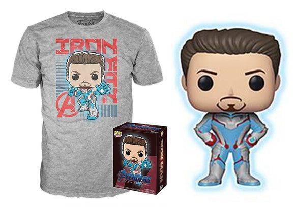 Pop! Marvel: Avengers: Endgame - Tony Stark [Glow-In-The-Dark] & T-Shirt [Extra-Large] (Target Exclusive) - Mom's Basement Collectibles