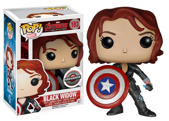 Pop! Marvel: Avengers: Age of Ultron - Black Widow [Cap Shield] (Gamestop Exclusive) *DAMAGED* - Mom's Basement Collectibles