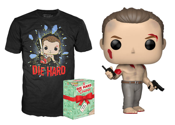 Pop! Die Hard Christmas Box: John McClane [Bloody] & T-Shirt [Small] (Target Exclusive) - Mom's Basement Collectibles