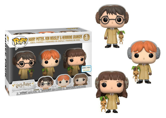 Pop! Harry Potter - Harry Potter, Ron Weasley, Hermione Granger [Herbology] 3 Pack (Barnes & Noble Exclusive) - Mom's Basement Collectibles