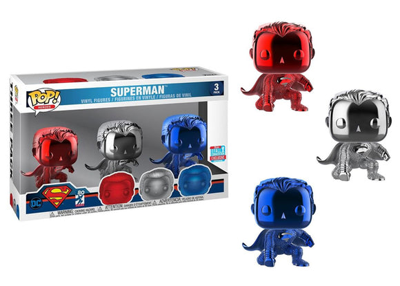 Pop! Heroes - Superman [Chrome] 3 Pack (Fall Convention Exclusive 2018) - Mom's Basement Collectibles